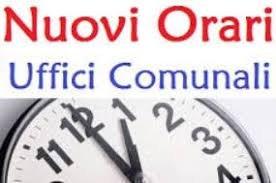 NUOVI ORARI APERTURA UFFICI COMUNALI -DAL 21.10.2019